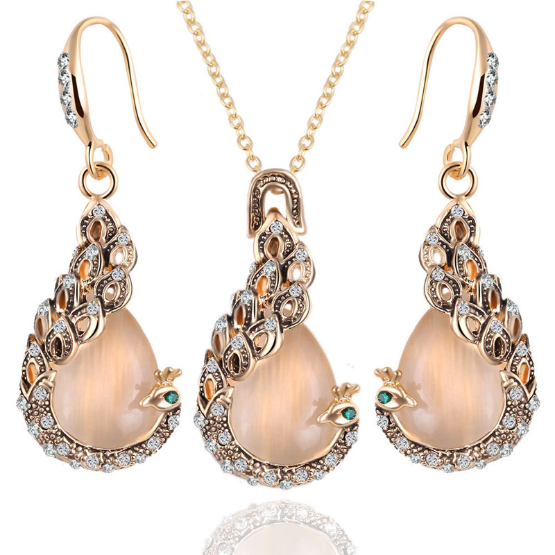 hhyde fine jewelry sets new fashion kc rose gold filled opal crystal peacock necklace