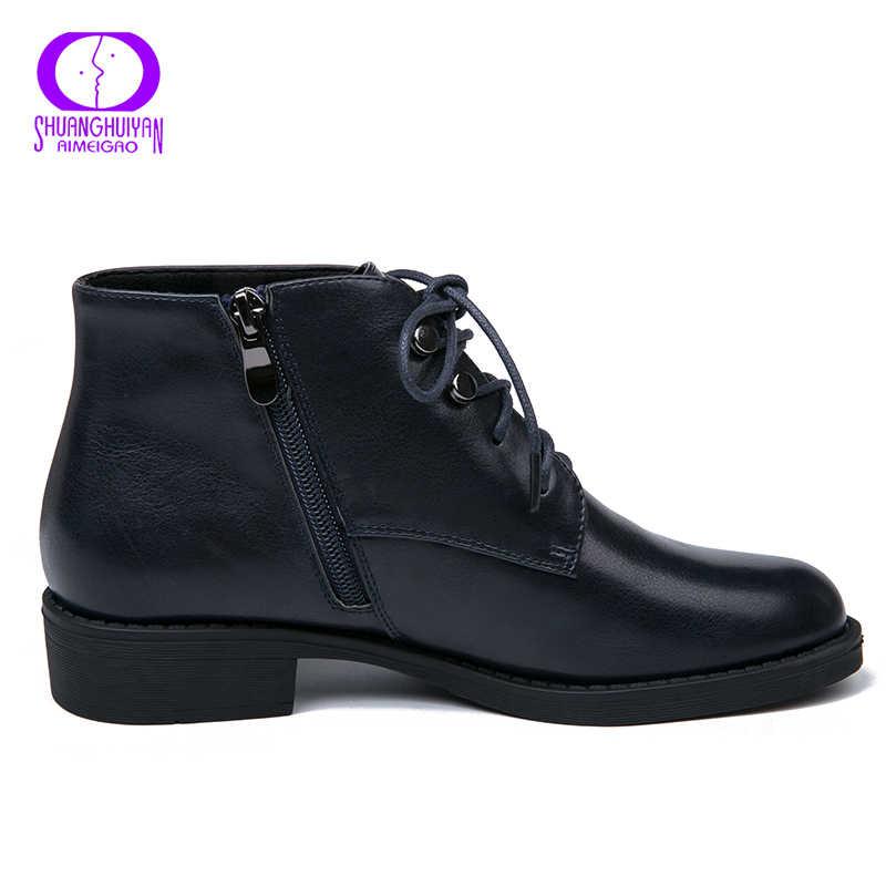 AIMEIGAO Novo Zipper Ankle Boots Mulheres de Couro Macio PU Zíper Lateral de Salto Baixo Botas Curtas De Pelúcia Outono Preto Azul Profundo sapatas das mulheres