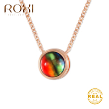ROXI Multicolor Stone Necklace Women Geometric Round Choker Engagement Rose Gold Clavicle Chain Boho Jewelry
