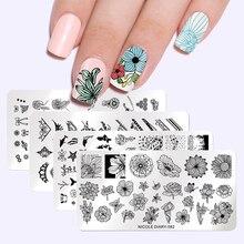 Nicole Dagboek Nail Art Stempelen Platen Geometrische Bloemen Multi Patroon Nail Art Stempel Stencil Sjabloon Tools