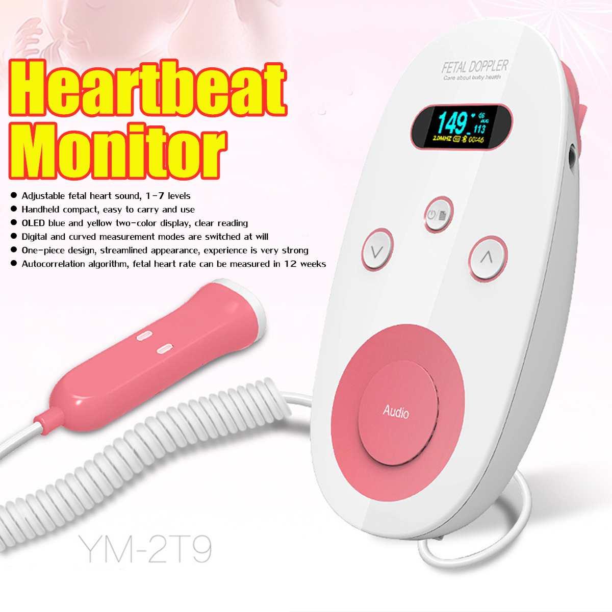 Détecteur Doppler foetal ultrasonique de LED intelligent moniteur de battement de coeur de bébé sonde prénatale de santé soins de santé de ménage réglables