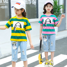 kids clothes Girls summer suit 2019 new fashion girls short-sleeved printing T-shirt new style printed denim pants children sets цена 2017