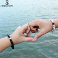 Distance Bracelet Natural Stone White And Black 2Pcs Set Couples Bracelets Charm For Men Women Best