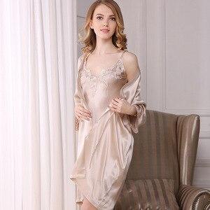 Image 2 - מכירה לוהטת סתיו 100% טבעי nightwear 2 חתיכות חלוק שמלת סטי נשים אצילי כותונת שמלת סטי נשים משי הלבשת