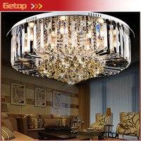 Лучшая цена современные круглый k9 кристалл потолочный светильник Светодиодное освещение Лампы для мотоциклов Гостиная Ресторан хрустальн