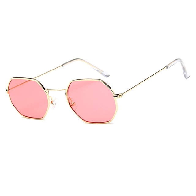 c2a02c875c Fashion Sunglasses Women Brand Designer Small Frame Polygon Clear Lens  Sunglasses Men Vintage Sun Glasses Hexagon Metal Frame