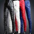 Melhor qualidade, 2016 nova moda calças de couro masculinos calças de couro apertadas calças skinny calças de couro masculinos finos vermelhos