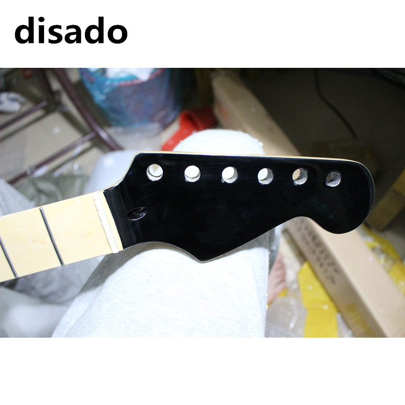 disado 22 Frets maple Electric Guitar Neck maple fretboard inlay dots black headstock guitar accessories can be customized