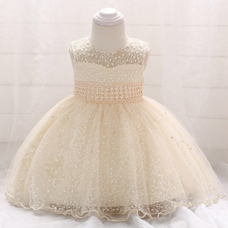 Retail Elegant Embroidery Little Baby First Communion Gown Dress Pearls Lovely Princess Summer Wedding Party Gown Dress L1859XZ