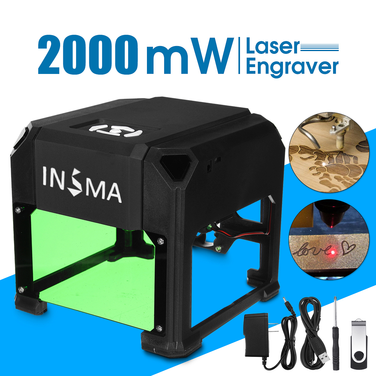 2000 mW CNC Laser Carving Machine USB Desktop Laser Engraver DIY Logo Mark Printer Cutter for Windows for Mac OS System