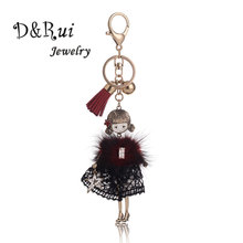Vintage Enamel Key Chain Lovely Girl In The Lace Skirt Key Ring Handmade Car Bag Pendant Keychain For Women fashion Jewelry
