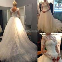 Setwell sexy Full Sleeves Chapel Train Bride Dresses
