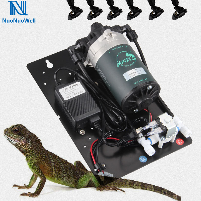 NuoNuoWell 15W Rainforest Tank Spraying Pump Kit Ultra Fine Atomizing Nozzle Reptile Aquarium Fogger Humidity System Manual Rain