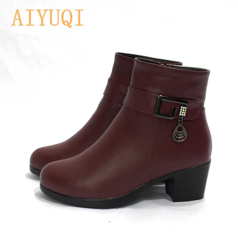 AIYUQI 2020 yarım çizmeler yün astar İtalyan kadın çizmeler hakiki deri çizmeler kadın bayan botları topuklu