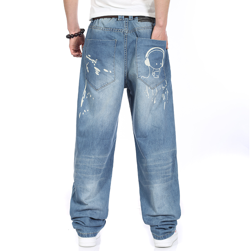 Men Jeans Wide Leg Denim Pants Loose Hip Hop Printed Skateboard Jeans Straight Trousers Harem Baggy Pants Big Size 40 42 44 46 hot new large size jeans fashion loose jeans hip hop casual jeans wide leg jeans