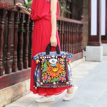 New Vintage Embroidered Women Handbag Bohemia Thailand Canvas Floral Tassel Cloth Pompon Shoulder Messenger Bags