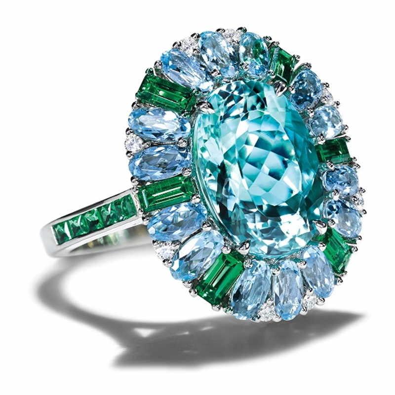 แฟชั่นทะเลสีฟ้าหินแหวนหรูหราฝังแหวนเงินแหวนสำหรับเครื่องประดับหมั้นผู้หญิง Anillos Mujer F5X431