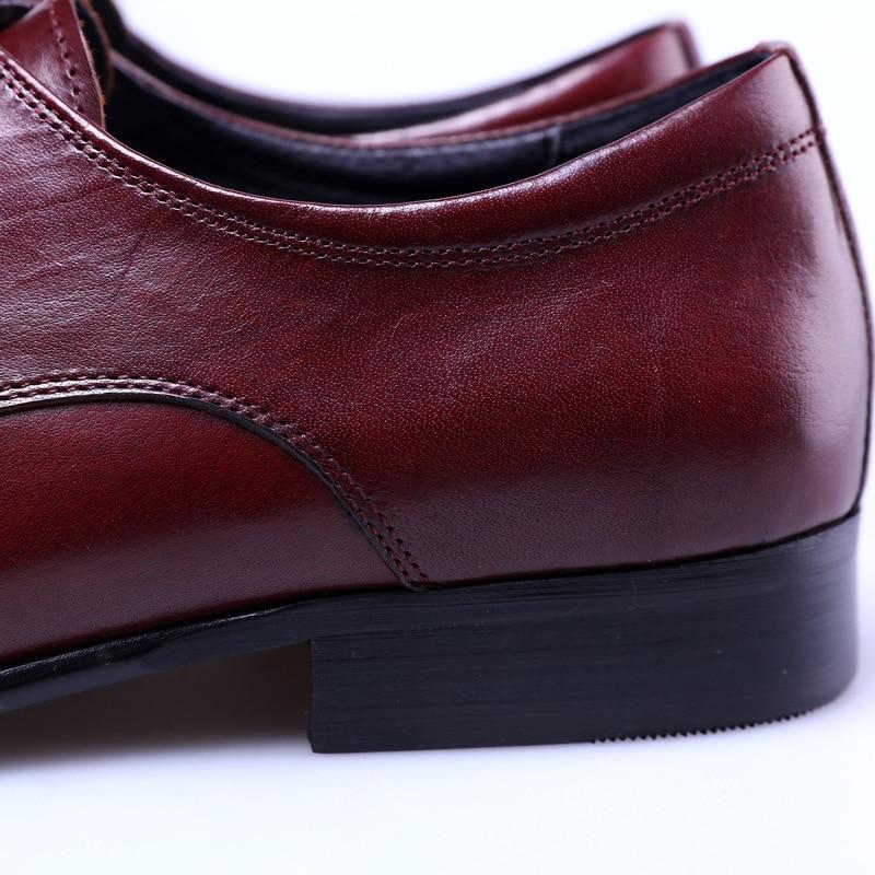 Neue red Arbeit Kleid Büro Mann Echtes Männer Mens Leder Spitz Kuh Hochzeit Schwarz Rot Schuhe Black Wine Qualität Business BwTrB6Wnq