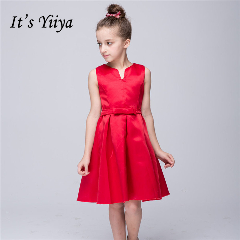 It's YiiYa Real Picture Sleeveless V-Neck Bow Sashes Stain Kids Princess   Flower     Girls     Dress   Kids Evening Gowns Prom   Dress   TS131