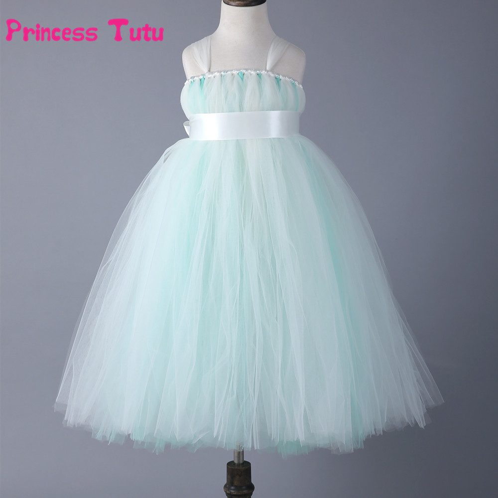 Baby Girl Party Tutu Dress Princess Tulle Dress Mint Green Piano Performance Dresses Kids Wedding Pageant Formal Dress Ball Gown flower kids baby girl clothing dress princess sleeveless ruffles tutu ball petal tulle party formal cute dresses girls