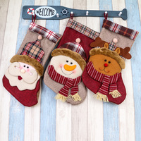 3 Pcs Christmas Snowman Santa Claus Socks Xmas Stocking Gift Present For Kids