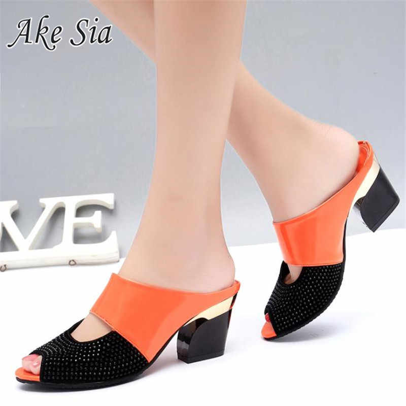 2019 Fashion Women Summer Patent Leather Sandals Sexy Peep Toe Cut Out High Heels Flip Flops Female Party Shoes Woman