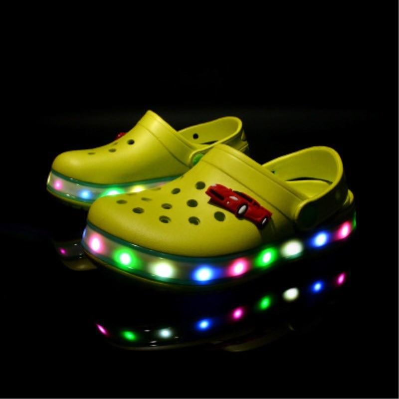 2017 New Brand Summer Toddler Children's LED Lighted Sandals Flashing Boys Girls Beach Slippers Kids Shoes Non-slip Sandals