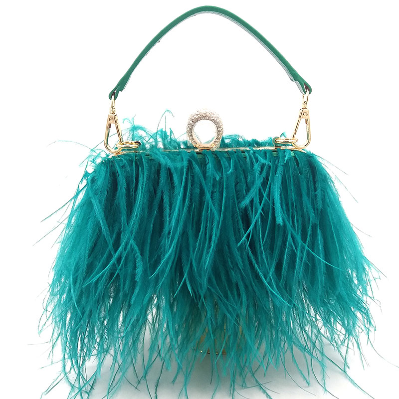love foevr Fashion evening bag Luxury Feathers Handbags For Women Clutch