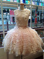 Lace Wedding Dress Bridal Dresses Organza Under Skirt Flowers Pearls Vestidos De Noiva Little Pink Lace Dress H17146