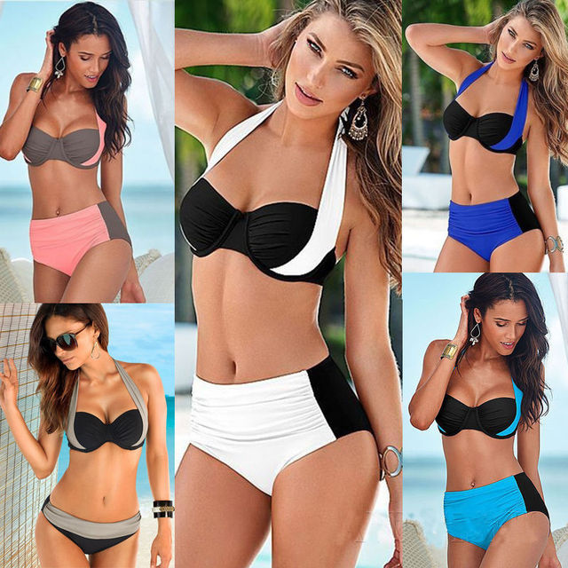 f4f5243f570a1 2016 New Sexy Bikinis Women Swimsuit High Waisted Bathing Suits Swim Halter  Top Push Up Bikini Set Beach Plus Size Swimwear XXL