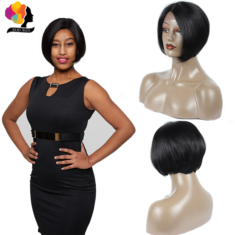 Wigs Human-Hair-Wigs Lace-Frontal Peruvian Short Bob Straight 1b-Color Black Women Plucked