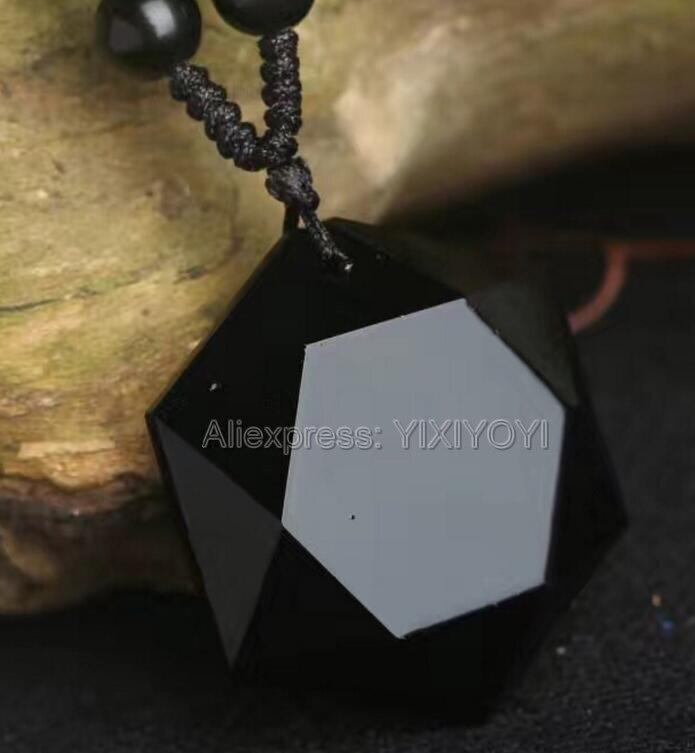 100% Natürliche Schwarz Obsidian Geschnitzt Glück Sechs Winkel Stern Konfrontiert Anhänger + Kostenloser Halskette Mode Kristall Für Frau Mann Der Schmuck Modische Muster