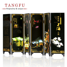 small folding screen room dividers movable table screens china wind landscape souvenir antique lacquer screen office home decor - Home Decor Screens
