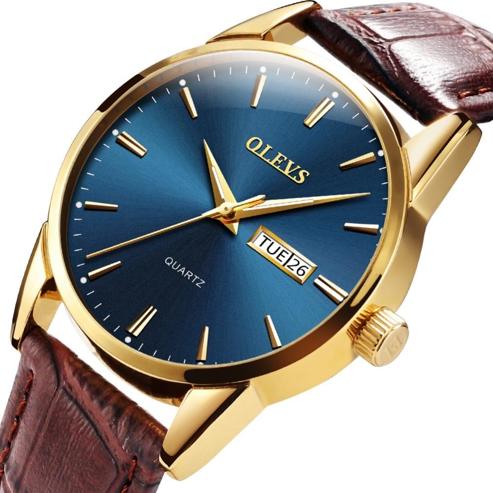 Watches Men Business OLEVS Men Watch Fashion Quartz Mens Watches Leather Date Male Waterproof Clock Luminous relojes para hombre цена