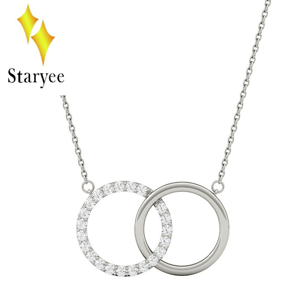 Real 18K White Gold Moissanite Linked Circle Pendant Lab Grown Diamond Necklace Chain For Women Lover Couple Gift 18k 750 white gold pendant gh color round lab grown moissanite double heart necklace diamond pendant necklace for women jewelry