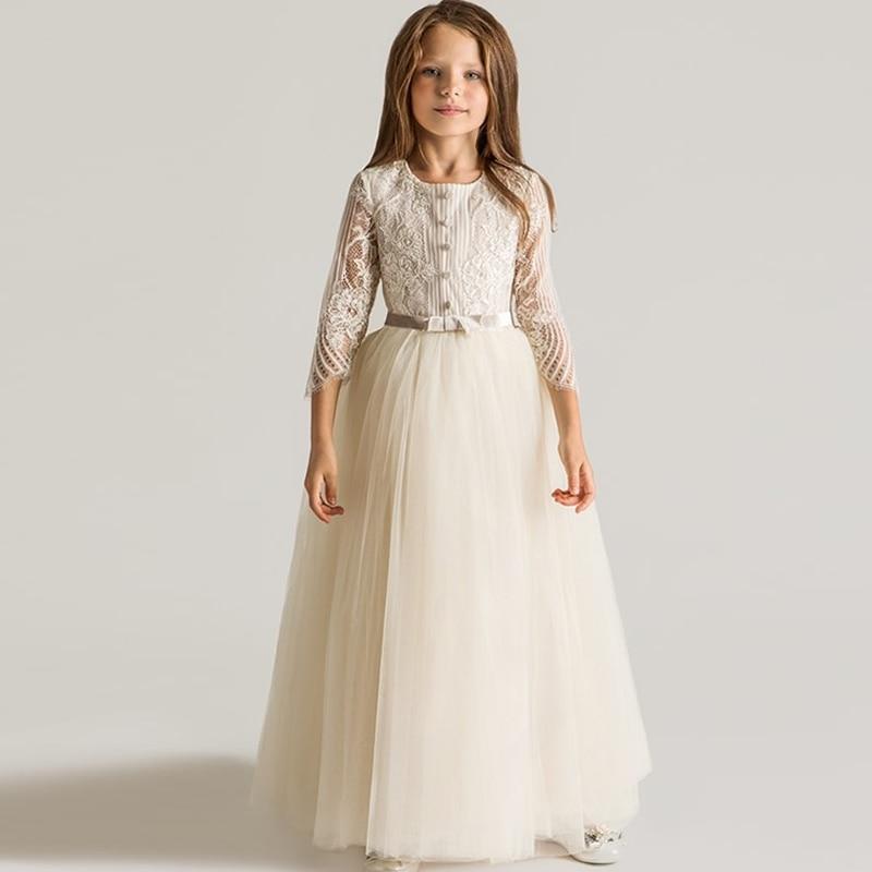 0b15a39d7 2017 Fashion Sweet Cute Princess Flower Girls Dress Kids Dress For Girls  Elegant Long Slim Lace Embrodiery Baby Girls Dress P25