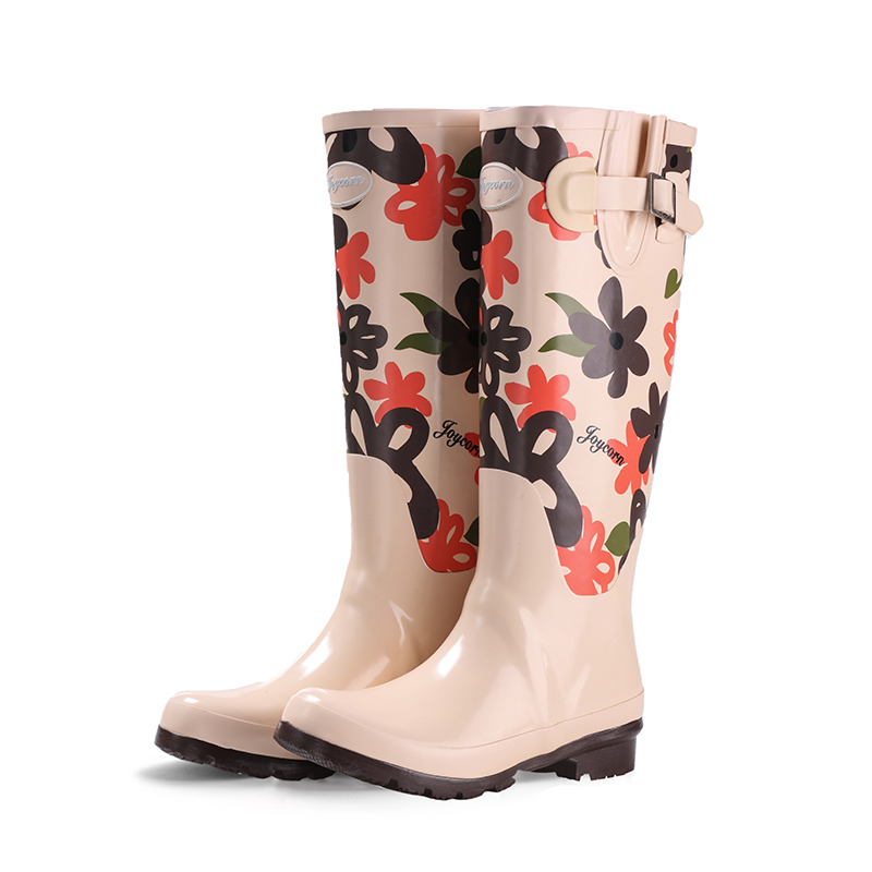 Water shoes fashion tall canister boots boots female rubber printing waterproof shoes rubber overshoes tall tales