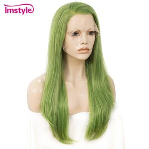 Image 3 - Imstyle Verde Sintetico Anteriore Del Merletto Parrucca Parrucche Diritte Per Le Donne di Alta Temperatura In Fibra di Parrucche Anteriori Del Merletto Per La Parrucca Cosplay