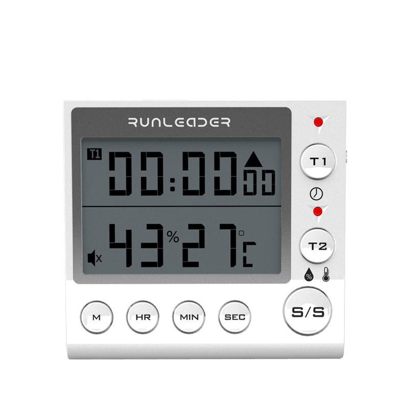 LED Large Screen, Double Channel Magnetic suction kitchen timer, up and down time, tone, temperature and humidity RL-KT002A