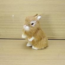 Simulation yellow rabbit polyethylene&furs rabbit model funny gift about 8cmx12cmx14cm