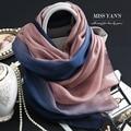 Genuine Silk Women Scarf Fashion Classic Blue Pink Gradient Scarves 2016 Summer Autumn Winter Good Quality Necklace Shawl