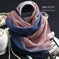 Genuino Mujeres de La Bufanda de Seda de La Manera Clásica Azul Degradado de Color Rosa Chal Bufandas 2016 Verano Otoño Invierno Collar de Buena Calidad