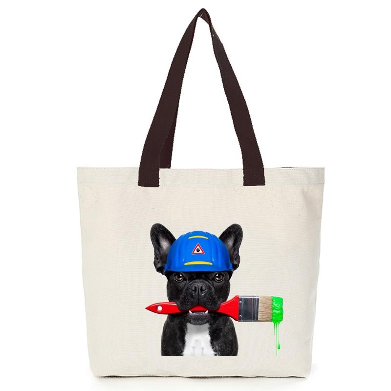 Origina cool dog series canvas custom tote bag customize eco bags diy logo shopping bag with logo  Dachshund Shepherd Dog Poodle (10)
