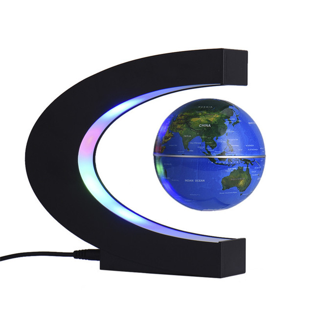 Fashion Home Decoration LED Floating Tellurion Globe Shape Magnetic Levitation Light World Map Tellurion EU US UK AU Plug