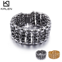 KALEN 2018 Punk 316 Stainless Steel Multiple Skull Heads Charm Bracelets For Men Biker Hand Chain Bracelet Drop Shipping Jewelry