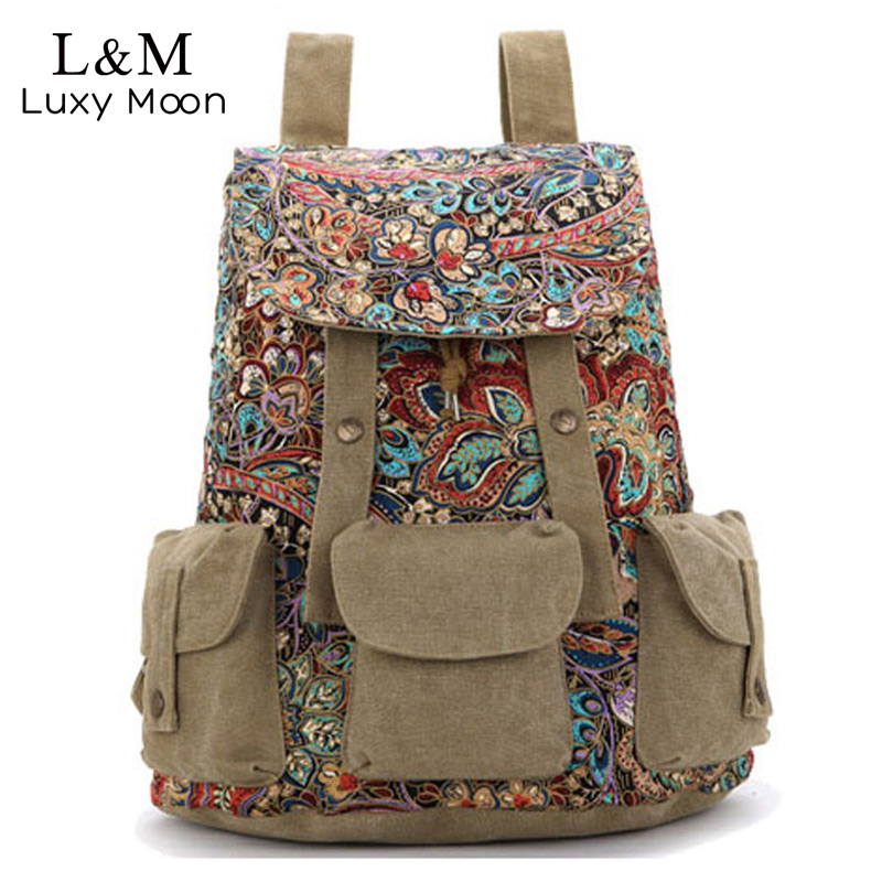 2018 Women Ethnic Backpack Canvas Drawstring Flower Printing Backpacks Teenage Girls School Bag Khaki Travel Bags mochila XA482H scione ethnic canvas backpack printing elephant butterfly drawstring casual rucksack travel shoulder bag mochila feminina xa739a