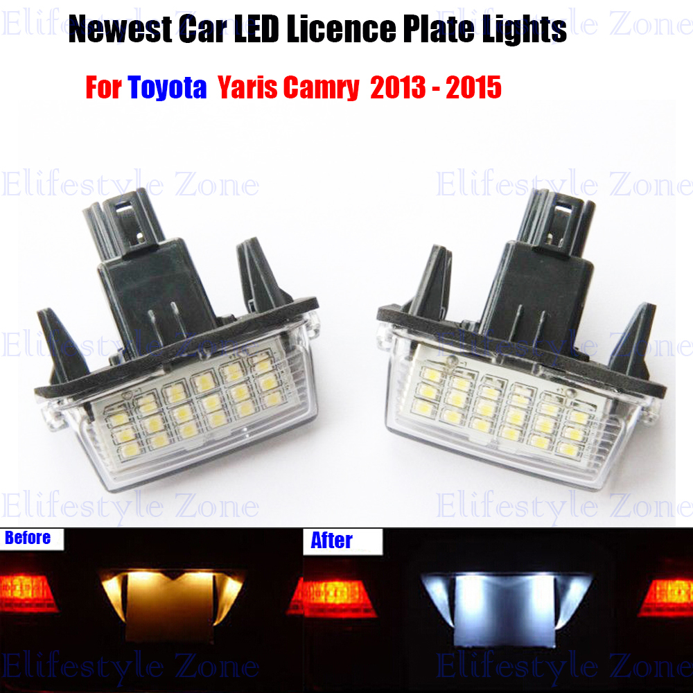 2 x LED Number License Plate Lamps OBC Error Free 18 LED For Toyota Yaris Camry 2x e marked obc error free 24 led white license number plate light lamp for bmw e81 e82 e90 e91 e92 e93 e60 e61 e39 x1 e84