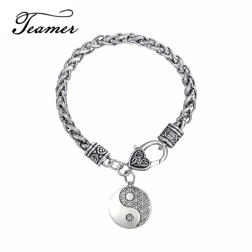 Teamer Antique Sliver Supernatural Flower Knot Male Bracelet Amulet Men Pendant Egyptian Jewelry Tai Chi Mandala Women Talisman