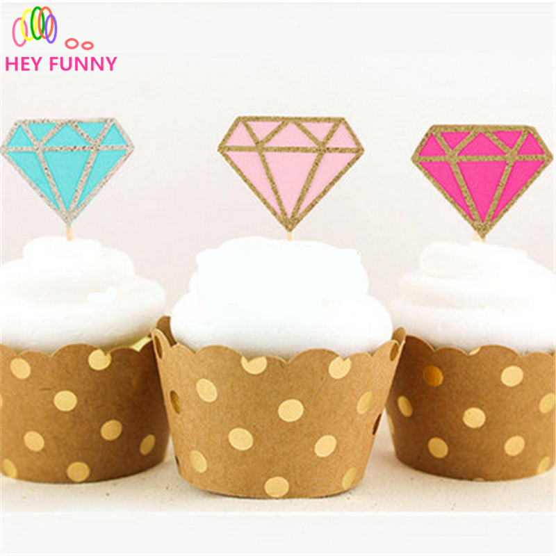 HEY FUNNY 5 pcs/lot Glitter Diamond Donut Cupcake Toppers Bridal Shower Decorations Wedding-Engagement Ring Topper Picks Party