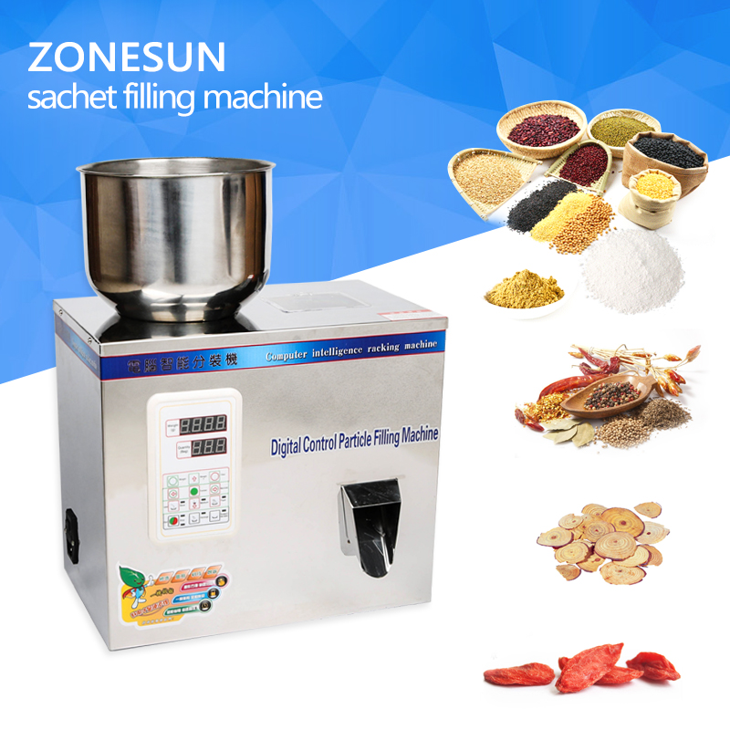 ZONESUN 1-50g tea Packaging machine sachet filling machine can filling granule medlar automatic weighing machine powder filler cursor positioning fully automatic weighing racking packing machine granular powder medicinal filling machine accurate 2 50g